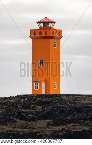 Orange Lighthouse at Snaefellsnes Peninsula, Iceland