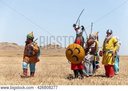 Tiberias, Israel, July 02, 2021 : Foot Warriors - Participants In The Reconstruction Of Horns Of Hat