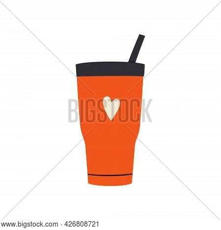 Travel Tumbler With Capand Straw. Reusable Cup, Thermo Mugs. Designs Of Thermos For Take Away Coffee
