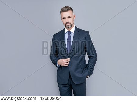 His Look Is Great. Entrepreneur Or Manager. Male Formal Fashion. Professional Unshaven Ceo.