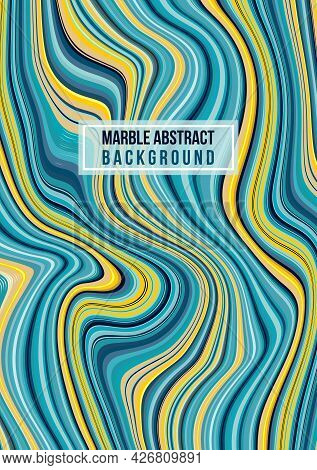 Colorful Swirl Marble, Ink Wave Vector Background In Blue And Gold Color. Can Be Used For Flyer, Pos