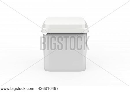 Paper Container Box Mockup Isolated Om White Background. 3d Illustration