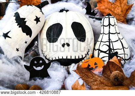 Halloween Background With Painted Face Pumpkins And Autumn Leaves. Diy. Do It Yourself. Halloween De