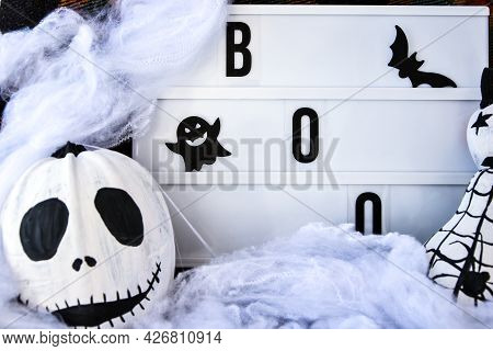 Lightbox With Text Boo Halloween Background With Painted Face Pumpkins And Autumn Leaves. Diy. Do It