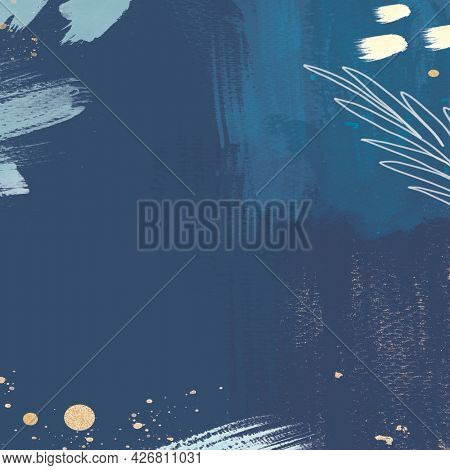 Abstract blue tone Memphis patterned social background