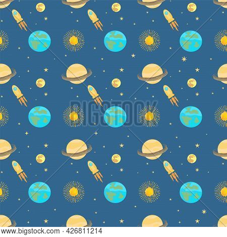 Cosmic Seamless Pattern On A Dark Background With Planets, Sun, Moon, Earth. Rocket Flies Between Th