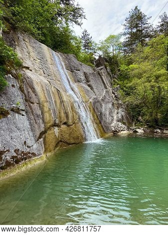 Scenic View To Beautiful Waterfall With Stunning Green Water In Slovenia. Slap Veli Vir.