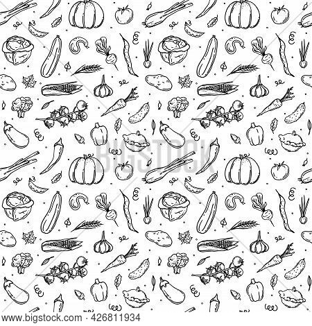 Seamless Pattern With Sketch Vegetables In Retro Style. Tomato, Garlic, Eggplant, Cucumber, Corn, Pe