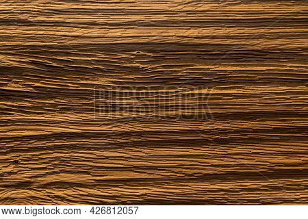 Surface Structure Of A Ribbed Piece Of Wood - Transverse Grooves, Background, Copy Space