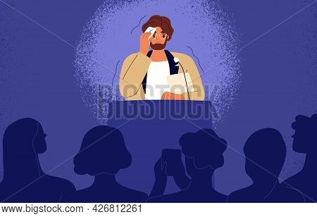 Shy Man Sweating, Feeling Fear And Anxiety During Public Speaking. Nervous Stressed Speaker Behind T