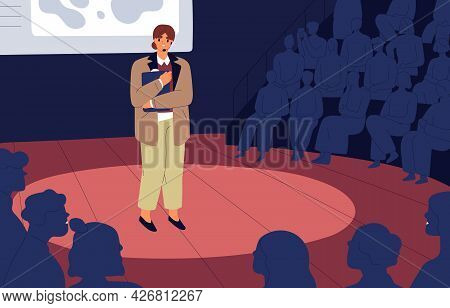 Shy Nervous Unconfident Woman Standing On Stage Before Audience. Anxious Frightened Mute Speaker. Fe