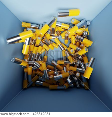 3d Illustration Aa Size Alkaline Battery In A Box. A Close-up Of The Same Yellow Batteries Lined Up