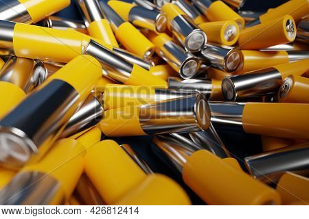 3d Illustration Close-up Of Aa Size Alkaline Battery On Dark Background. An Unsafe Way To Use Energy