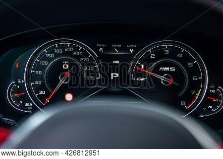 Ukraine, Odessa July 8 - 2021: Bmw M5 Dashboard. Car Interior Dashboard Details