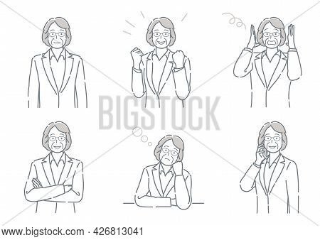 Businessperson With Different Poses Expressing A Variety Of Emotions. Easy To Use Simple, Flat Vecto