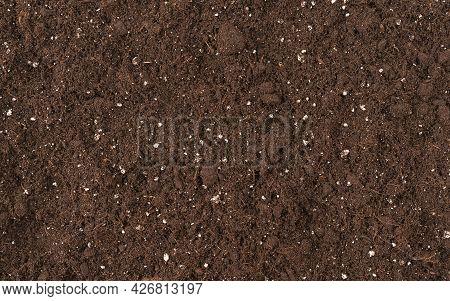 Soil Texture Detail For Gardening Top View For Design Fertility Soil On Earth