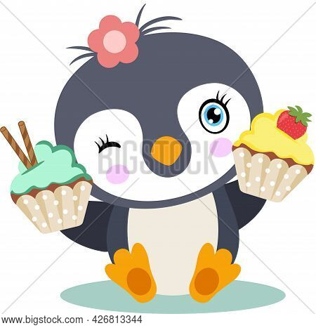 Scalable Vectorial Representing A Happy Baby Penguin With Cupcakes, Element For Design, Illustration