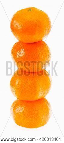 Stacked Fresh Mandarin Citrus Isolated Tangerine Mandarine Orange In Stack On White Background. Heal