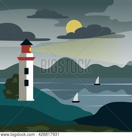 Vector Lighthouse On The Shore Of A Stone Cliff.