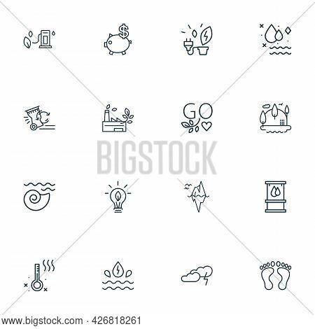 Ecology Icons Line Style Set With Iceberg, Eco Bulb, Eco Gas Station And Other Energy Elements. Isol
