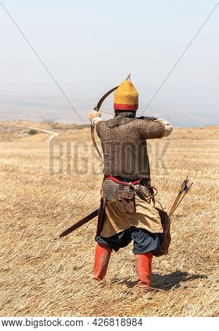 Tiberias, Israel, July 02, 2021 : Foot Warrior - Archer - Participant In The Reconstruction Of Horns