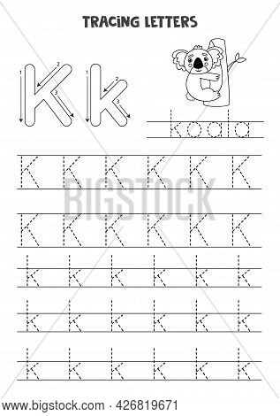 Trace Letters Of English Alphabet. Uppercase And Lowercase K. Handwriting Practice For Preschool Kid