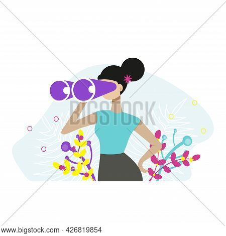 Woman Holding Huge Binocular And Looking Far Ahead. Vector Illustration For Observation, Discovery,