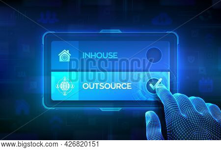 Outsource Or Inhouse Choice Concept. Making Decision. Outsourcing Global Recruitment. Human Resource