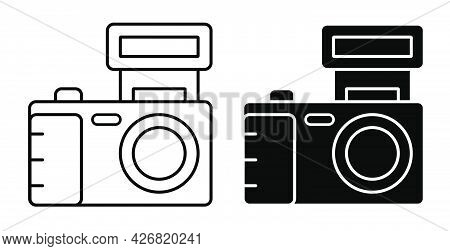 Linear Icon. Camera, Equipment For Photography And Selfie. World Photography Day August 19th. Simple