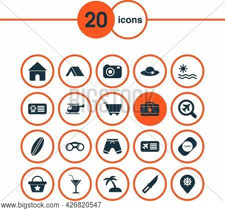 Tourism Icons Set With Tent, Camera, Helicopter And Other Medical Case Elements. Isolated Illustrati