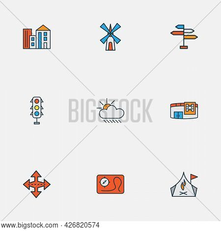 Urban Icons Colored Line Set With Camping Zone, Map, Building And Other Apartment Elements. Isolated