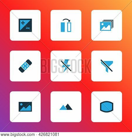 Picture Icons Colored Set With Wide Angle, Flip, Filter And Other No Filter Elements. Isolated Illus