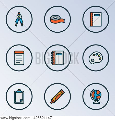 Stationary Icons Colored Line Set With Scotch, Notebook, Clipboard And Other Copybook Elements. Isol