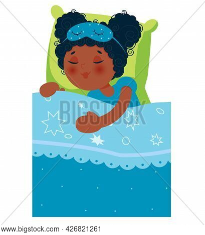 African-american Girl Sleeping In Bed After A Pajama Party. Vector Illustration. Can Be Used For Inv