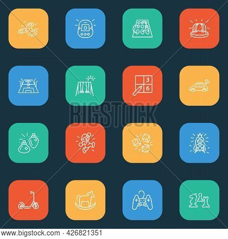 Hobby Icons Line Style Set With Spinner, Mechanical Toy Car, Chess And Other Moped Elements. Isolate