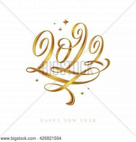 2022 Logo - Lettering Calligraphy. Golden Paint Brushstroke. Golden New Year Sign. Vector Illustrati