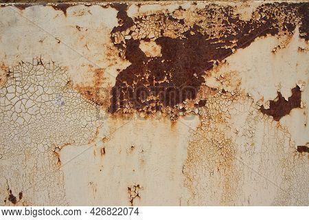 The Rust Texture Of Old Metal Iron. Metal Rust Background, Rotten Steel, Metal Texture With Scratche