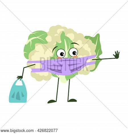 Cute Cauliflower Characters With Emotions, Face And Mask Keep Distance, Hands With Shopping Bag And