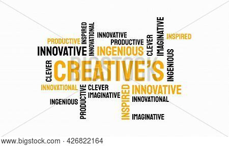 Word Of Creative Typography, Creative Typography Text Word Art Vector Marketing Illustration