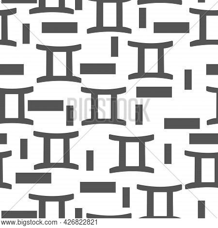 Seamless Pattern Of Gray Silhouettes Of The Zodiac Sign Gemini And Rectangles Of Different Sizes On