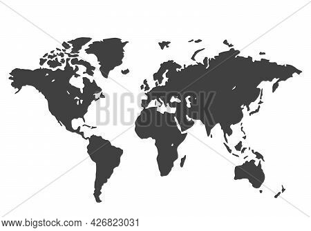 Stylized World Map. Black Power On A White Background. Illustration Of Continents. Vector