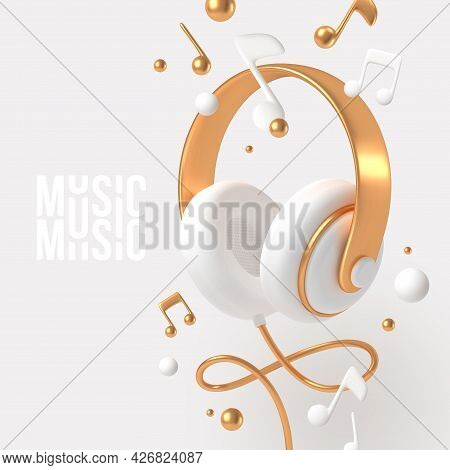 Realistic 3d Render Headphones With Golden Elements And Musical Notes. Vector Illustration.