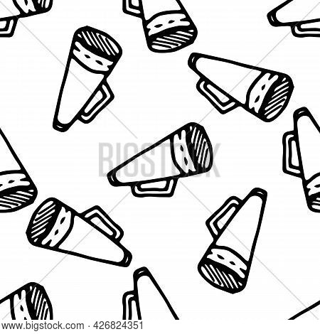 Vector Seamless Pattern From The Speaker. A Pattern Of Hand-drawn In The Doodle Style Of A Megaphone