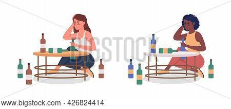 Woman With Alcoholism Semi Flat Color Vector Character Set. Sitting Figure. Full Body People On Whit
