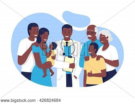 Family Practice 2d Vector Isolated Illustration. Caring About Elderly People, Adolescents, Adults Fl