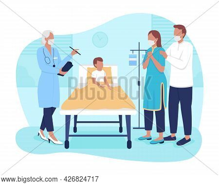 Planning Child Stay In Hospital 2d Vector Isolated Illustration. Parents Talking With Doctor About K