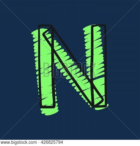 Letter N Logo Hand-drawn With Felt-tip And Marker Strokes. Perfect To Use In Any Comic Strip Pages,
