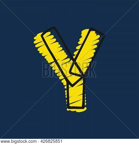Letter Y Logo Hand-drawn With Felt-tip And Marker Strokes. Perfect To Use In Any Comic Strip Pages,