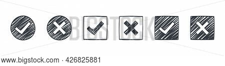 Check Marks. Drawn Icons Of Check Marks. Checkbox Icons And Sketch Check Marks Signs. Vector Illustr