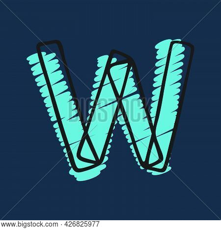 Letter W Logo Hand-drawn With Felt-tip And Marker Strokes. Perfect To Use In Any Comic Strip Pages,